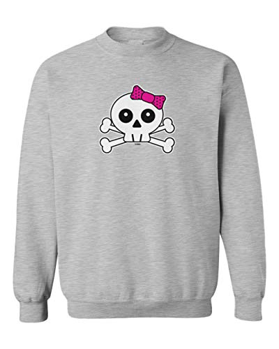 (Tcombo Skull with Pink Bow - Crossbones Toddler Fleece Crewneck Sweater (Light Gray, 4T))