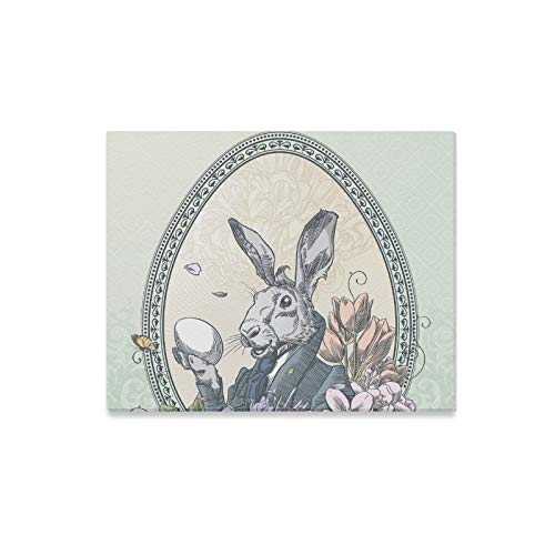 - ENEVOTX Wall Art Painting Vintage Easter Postcard with Rabbit with Little C Prints On Canvas The Picture Landscape Pictures Oil for Home Modern Decoration Print Decor for Living Room