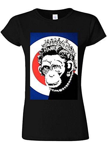 コンテンポラリー打ち上げるハンカチBanksy Monkey Queen Funny Novelty Black Women T Shirt Top-L