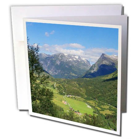 nt - Mountain - UNSCO World Heritage Site. Mountainside homes. Geiranger, Norway. - 12 Greeting Cards with envelopes (gc_257862_2) (Heritage Home Office)
