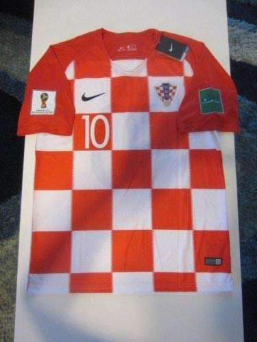 Dri-FIT Luka Modric #10 Croatia HNS Hrvatska 2018 World Cup X-Large Red and White Home Jersey Patches Shorts