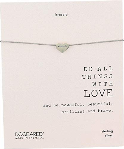 Dogeared Women's Do All Things with Love Sliding Heart Pebble Bracelet Sterling Silver 9 in