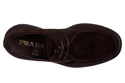 Prada chaussures à lacets classiques homme en daim oxford marron