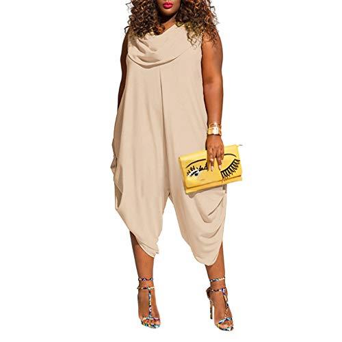 (Farmerl 2019 Women Plus Size Jumpsuit Solid Color Bib Solid Color Pants Jumpsuit)