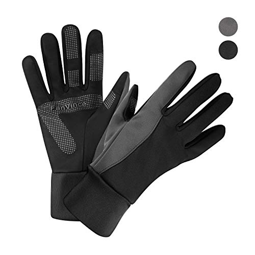 Warm Gloves Winter Thermal Glove with Touch Screen Fingers Windproof Water Resistant for Running/Cycling/Driving/Snow Skiing/Ice Fishing in Cold Weather for Women and Men (Large, Black-Gray)