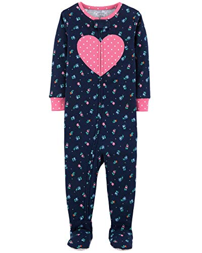 Carter's Baby Girls' 1-Piece Snug Fit Cotton Pajamas (4T, Floral Print)