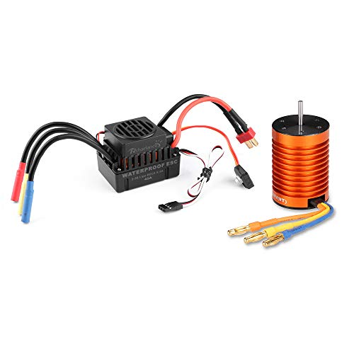 Rcharlance F540 4370KV Brushless Motor 3.175mm Sensorless with 45A ESC Brushless Waterproof Electronic Speed Controller Combo Set Upgrade Power System for 1/10 RC Car Boat