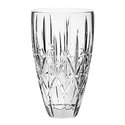 "Marquis By Waterford Sparkle VASE 9"" - This radiant Waterford Marquis vase is ideally shaped and sized for displaying fresh cut or dried flowers. Features brilliant cuts reminiscent of delicate starlight. Crafted of high quality lead free glass that is flame polished and dishwasher safe, while retaining a similar weight and clarity of traditional leaded crystal. - vases, kitchen-dining-room-decor, kitchen-dining-room - 41tZAT92kvL. SS400  -"