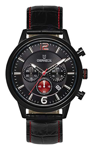 ORPHELIA Tempo-Limitededition OR81803 Men's Watch 43mm,Leather Black Strap Japanese Quartz