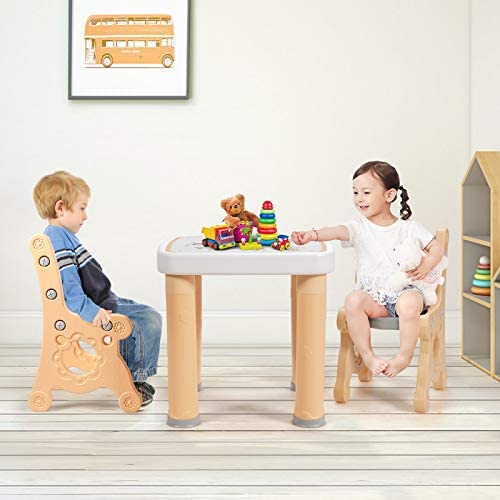 Costzon Kids Table And Chair Set, 3-Piece Toddler Activity Table And Chairs With Storage Drawer, Height Adjustable, Children Desk Furniture Set For Drawing Reading Snack Time Art Craft (Natural)