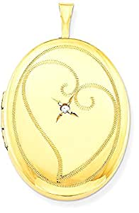 IceCarats 1/20 Gold Filled 26mm Diamond In Heart Oval Locket Necklace That Holds Pictures