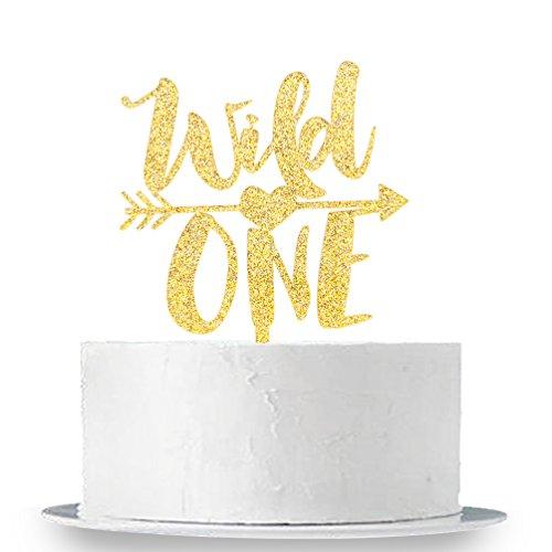INNORU Gold Glitter Wild One Cake Topper - Baby's First Birthday Party Decorations - 1st Birthday Cake Topper - Baby Shower Photo Props by INNORU