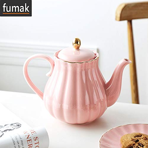 Pumpkin Shape Ceramic - Teapot - Ceramic Teapot Pumpkin Shape Hand Painted Gold Bone China Teapot With Tea Strainer Elegant Tea Pot Set 1L (pink)