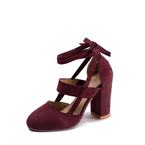 Plus Size Female Ankle Strap High Heels Thick Heel Fashion Women Party Wedding Pumps,Red,9]()