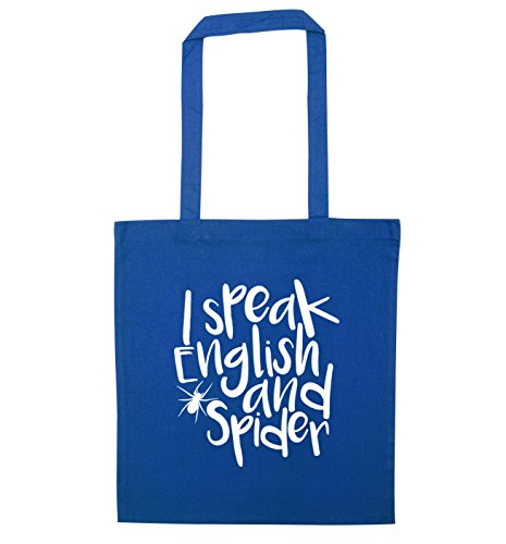 I speak English and spider tote bag Blue