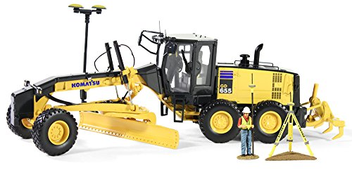 - First Gear 1/50 scale Diecast Collectible Komatsu GD655-5 Motor Grader with Ripper and Figure with GPS Base and Rover (#50-3264T)