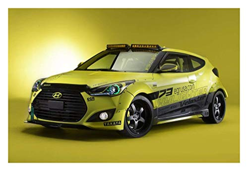 Hyundai Veloster Turbo Yellowcake Night Racer (2013) Car Art Poster Print  on 10 mil Archival Satin Paper Yellow Front Side Studio View 16