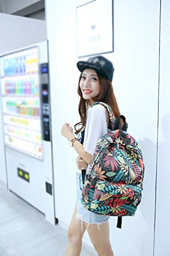 YuanDian Niña Adolescente Juveniles Vistoso Hojas Impresión Lona Casual Escolares Bolsa Mochila Bolsos De Viaje Impermeable Negro