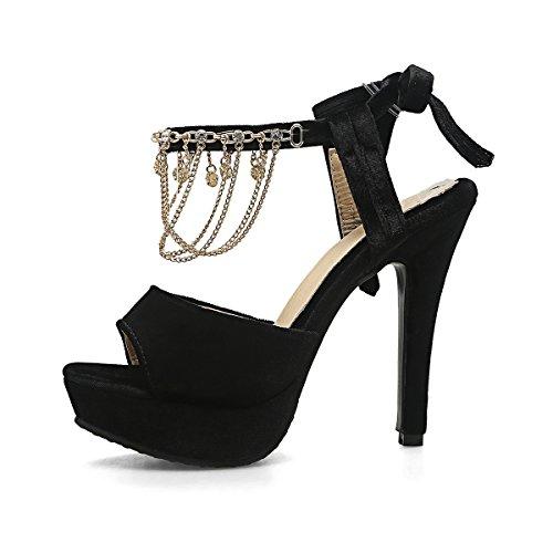 Noir avec Mode Toe Strass Sandales UH de Talons Laniere Aiguilles à Cheville et Plateforme Femmes Peep Haut Suede Classique et en HPRwp