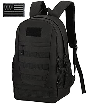 ArcEnCiel Waterproof Military Backpack Rucksack Gear Tactical Assault Pack Student School Bag Hunting Camping Trekking Travel Patch -Rain Cover Included