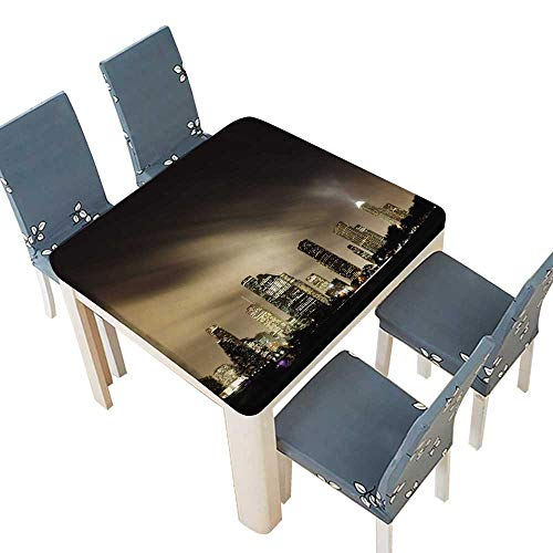 PINAFORE Waterproof SpillProof Tablecloth Metropolitan Skyline at Night Houston Texas Table Cover 61 x 61 INCH (Elastic Edge) (Best Snow Cones In Houston)
