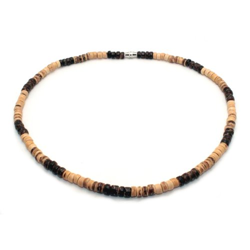 - Surfer Necklace Made From Dark Brown, Light Brown and Tiger Brown Coco Beads, Barrel Lock (20 In)