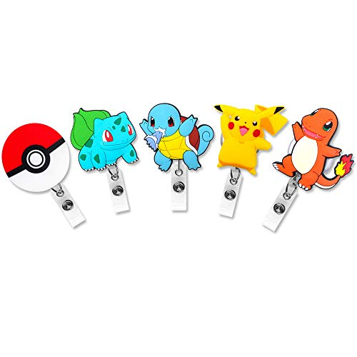 Finex Set of 5 Poke Ball Badge ID Clip Reel Retractable Holder Office Work Nurse Name Badge Tag Clip On Card Holders Cute - 30 inch Cord Extension