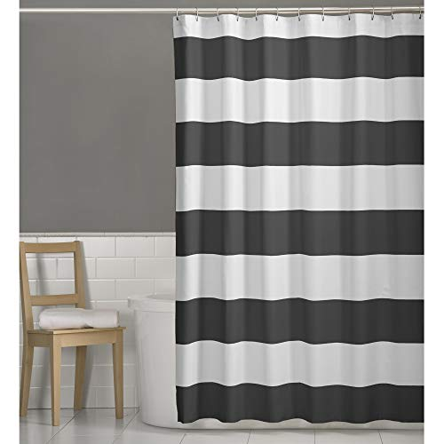 Porter Nautical Striped Fabric Shower Curtain, Grey, 70 inches x 72 inches