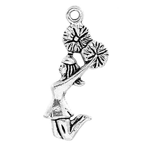 Cheerleading - Cheer and School Spirit Silver Tone Charms (50 Pc Cheerleader)