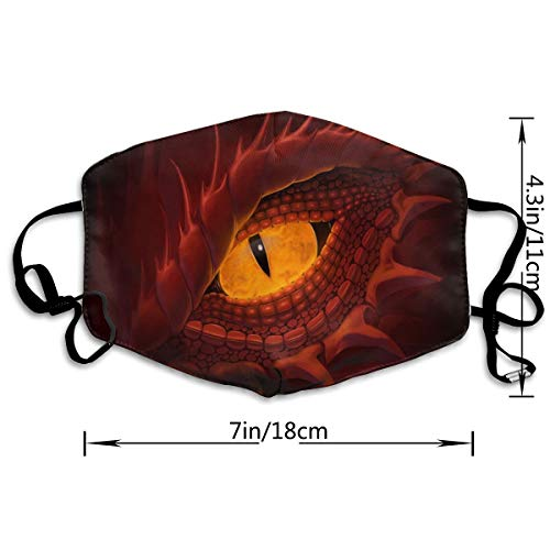 Dust Mask Yellow Eye of Red Dragon Fashion Anti-dust Reusable Cotton Comfy Breathable Safety Mouth Masks Half Face Mask for Women Man Running Cycling Outdoor