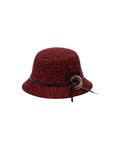 (Gihuo Women's 1920s Winter Wool Cap Cloche Bucket Bowler Hat Crushable (One Size, Red))