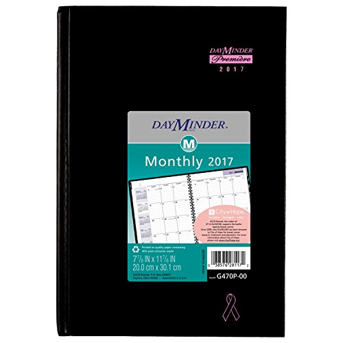 "DayMinder Monthly Planner / Appointment Book 2017, Premiere, Breast Cancer Awareness, Pink Ribbon, 7-7/8 x 11-7/8"", Black (G470P-00)"