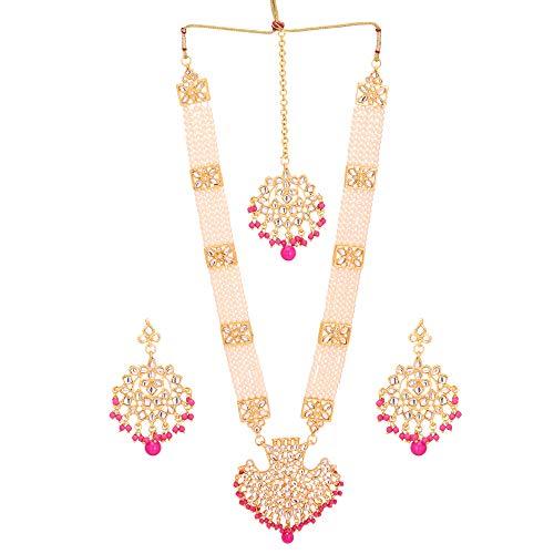Jwellmart Women's Diva Collection White Kundan Stone Faux Pearl Rani Haar Necklace Earrings Set (Hot Pink)
