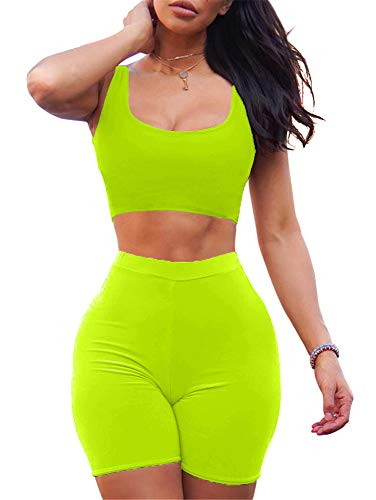 GOBLES Women's Sexy Bodycon Tank Crop Top Shorts Sets Club 2 Piece Outfits Fluo Green