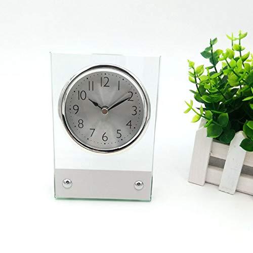 (MUMUWIND Glass Table Clock Ultra-Quiet Metal Small Alarm Clock, Classic Retro Style Quartz Clock, Desk Cupboard Bedside Travel Alarm Clock Glasses and Metal (Silver))