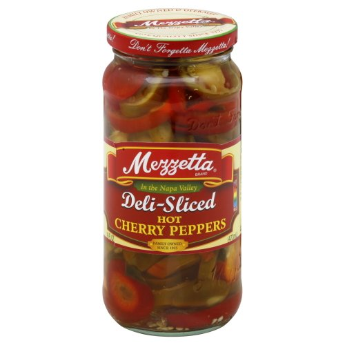 Pickled Red Peppers - Mezzetta Cherry Peppers Sliced Hot 16.0 OZ(Pack of 2)