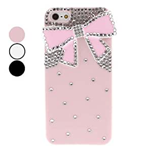 Rhinestone Bowknot Hard Case with Extra Nail Adhesive and Diamond for iPhone 5/5S (Assorted Colors) --- COLOR:Pink
