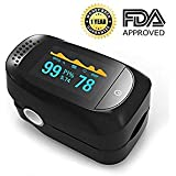 Pulse Oximeter, Finger Portable FDA Approved Digital Blood Oxygen and Pulse Sensor Meter with Alarm SPO2 For Adults and Children (Black)