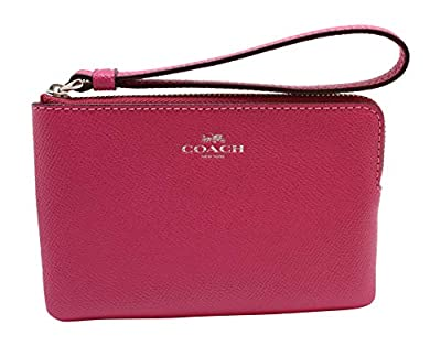 Coach Crossgrain Leather Corner Zip Wristlet (Cerise)