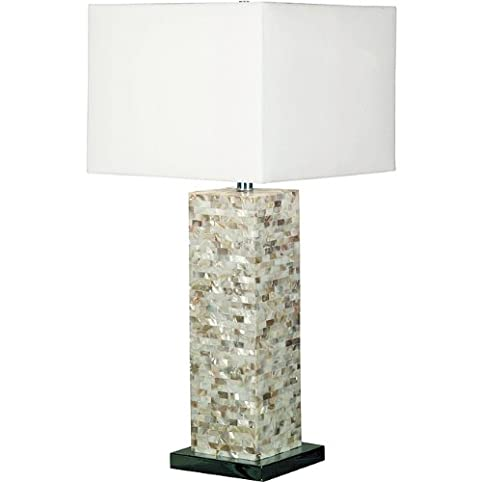 Marino 30 inch mother of pearl finish table lamp lamps have white square shades