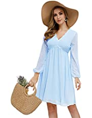 JASAMBAC Women's V Neck Long Sleeve Swiss Dot Party Bridesmaid A-Line Mini Dress