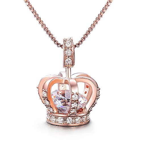UMODE Womens Queen Crown Pendant Necklace 3 Lays Rose Gold/Platinum Plated with Cubic Zirconia