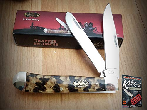 New Fr Trapper Cobra Snake Skin Pattern Steel Warrior Folding Pro Tactical Elite Knife SWCSS for Home Camping Hunting Rescue + free Ebook by ProTactical
