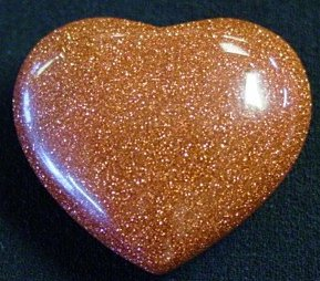 30mm Gold Stone Puff Heart Goldstone