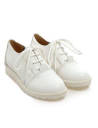 Femme Eu39 Argent Arrondi Chaussures Similicuir us8 Blanc Cn39 Rouge Bout Talon Njx Red Richelieu Uk6 Plat Décontracté Tx5wqdz664