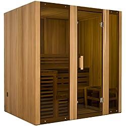 ALEKO STI6HEM Hemlock Indoor Outdoor Wet Dry Two Level Sauna and Steam Room 6 kW ETL Certified Heater 6 Person 79 x 59 x 83 Inches