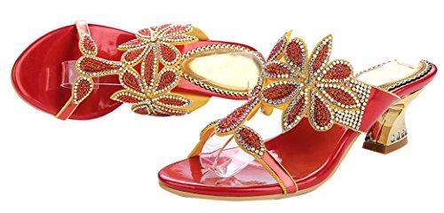 Sandali Da Donna Con Strass Brillanti E Sandali Con Strass Rosso