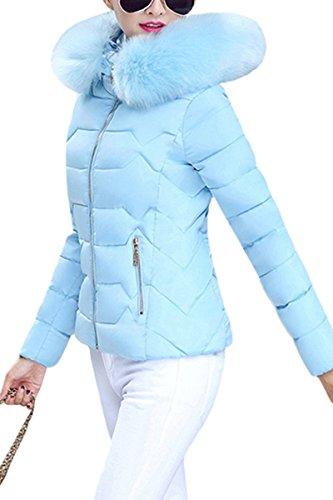 Monocromo Collo Blau Lunga Piumini In Con Lounayy Hot Tasche Cerniera Cappuccio Casuale Mantello Coreana Invernali Pelliccia Donna Manica Elegante Laterali xHFw1vq