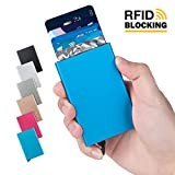 Lungogo Credit Card Case Minimalist Slim Aluminum Holder RFID Blocking Front Pocket Wallet Perfect Card Organizer Automatic Pop Up Design Holds 5 Cards (Blue)