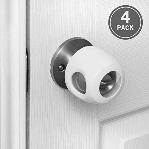 Tasmo Door Knob Handle Covers (4-Pack) | Child Proof Your Home with Easy to Install Safety Locks | Easy for Adults to Open, Impossible for Infants and Toddlers | Fits Most Standard Door Knobs | White